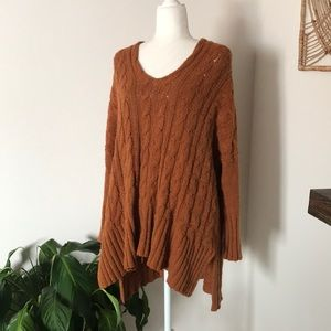 Free People orange oversized hi-low knit sweater